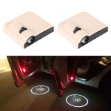 2PCS LED Ghost Shadow Light, Car Door LED Laser Welcome Decorative Light, Display Toyota Car Brand Logo (Khaki)
