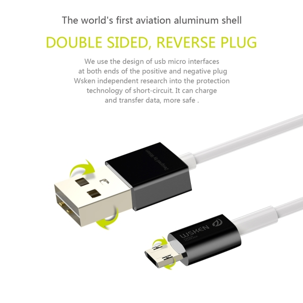 WSKEN M-cable 1m 2.4A Double Sided Reverse Plug Micro USB to USB Metal Head TPE Wire Data Sync Charging Cable with Metal Head Shell for Samsung, HTC, Sony, Huawei, Xiaomi, Meizu (Black)