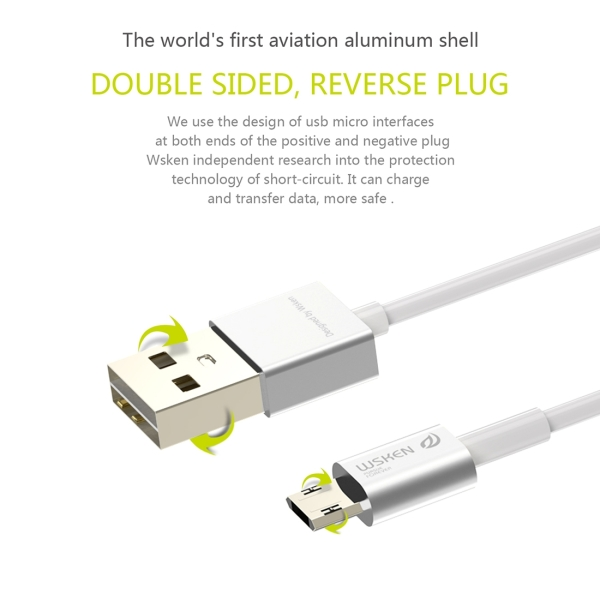 WSKEN M-cable 1m 2.4A Double Sided Reverse Plug Micro USB to USB Metal Head TPE Wire Data Sync Charging Cable with Metal Head Shell for Samsung, HTC, Sony, Huawei, Xiaomi, Meizu (Silver)