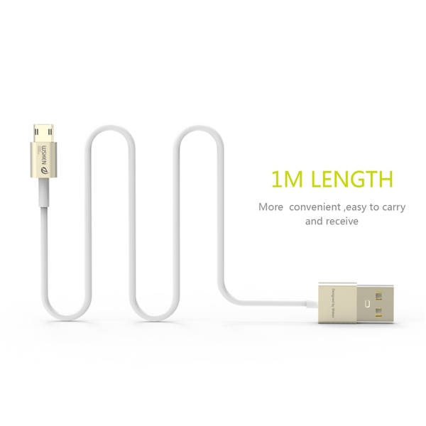 WSKEN M-cable 1m 2.4A Double Sided Reverse Plug Micro USB to USB Metal Head TPE Wire Data Sync Charging Cable with Metal Head Shell for Samsung, HTC, Sony, Huawei, Xiaomi, Meizu (Gold)