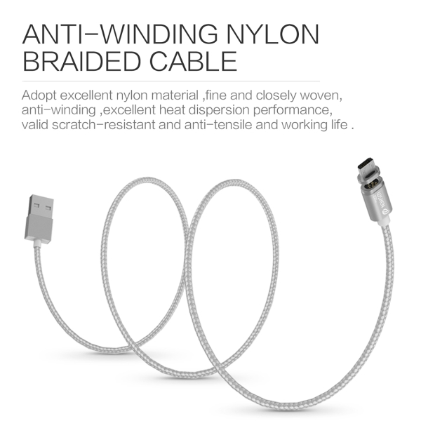 WSKEN 1m 2.4A X-Cable mini 2 Metal Magnetic Cable Woven Style Micro USB to USB 2.0 Data Sync Charging Cable Intelligent Metal Magnetism Cable with 24K Gold-plating Touch Point & LED Indicator Light & Anti-error Recognition Function for Samsung, HTC, Sony, Huawei, Xiaomi, Meizu (Silver)