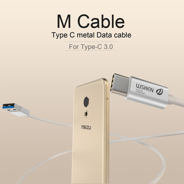 WSKEN M-cable 1m 3A 9 Pure Copper Cores Type-C to USB 3.0 Data Sync Charging Metal Cable for New MacBook Air 12 inch, Samsung Galaxy Note 7, Huawei P9 & P9 Plus, Meizu PRO 6 & PRO 5, Xiaomi Mi 5 & Mi 4c & Tablet 2, Letv Coolpad Cool1 dual, Nokia, Google, OnePlus and other Devices with Type-C USB Port (Silver)
