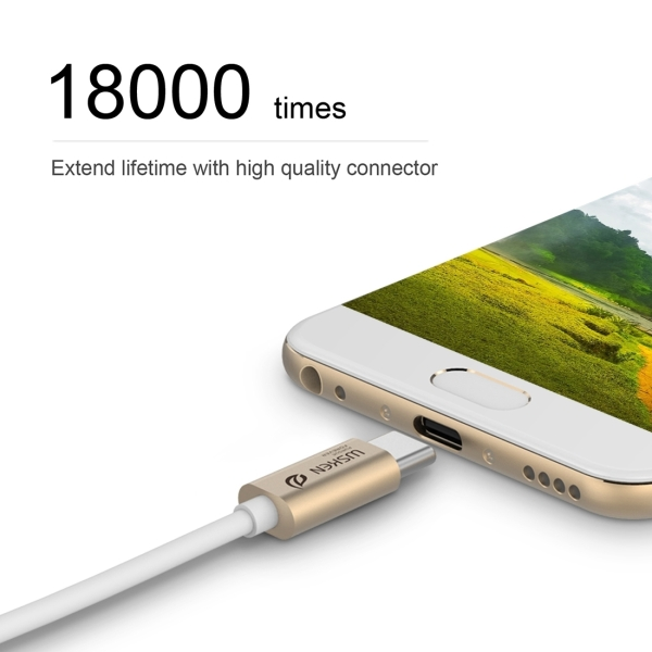 WSKEN M-cable 1m 3A 9 Pure Copper Cores Type-C to USB 3.0 Data Sync Charging Metal Cable for New MacBook Air 12 inch, Samsung Galaxy Note 7, Huawei P9 & P9 Plus, Meizu PRO 6 & PRO 5, Xiaomi Mi 5 & Mi 4c & Tablet 2, Letv Coolpad Cool1 dual, Nokia, Google, OnePlus and other Devices with Type-C USB Port (Gold)