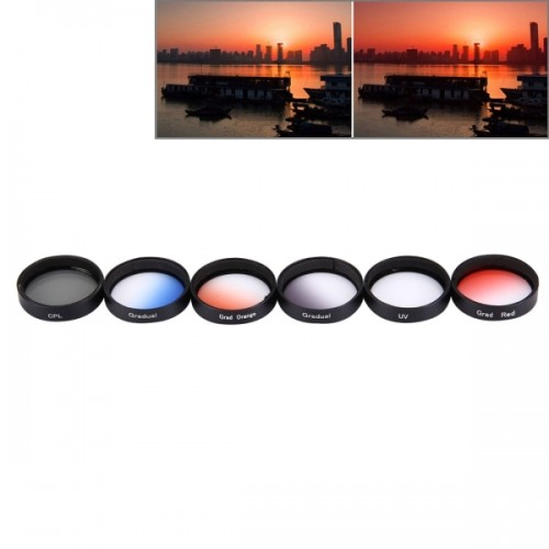 JUNESTAR 6 in 1 Proffesional 34mm Lens Filter (CPL + UV + Gradual Red + Gradual Orange + Gradual Blue + Gradual Grey) for DJI Phantom 3 & 4