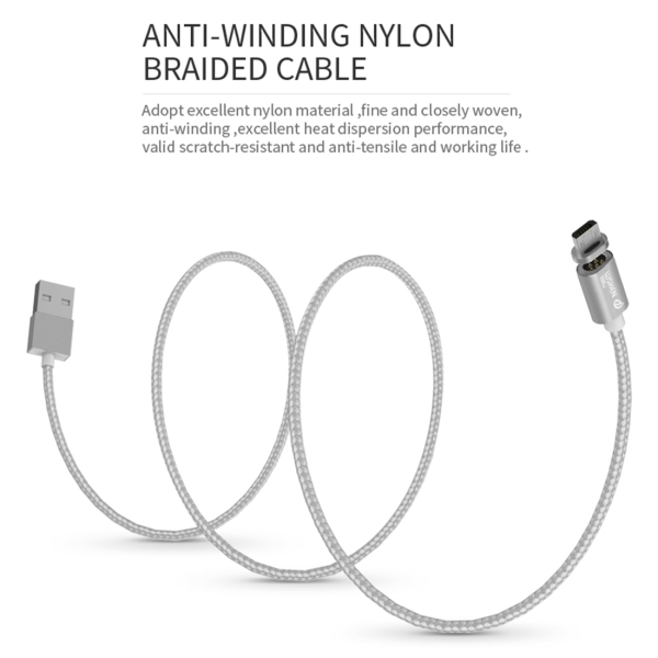WSKEN 1m 2.4A X-cable mini 1 Metal Magnetic Cable Woven Style 8 Pin & Micro USB to USB 2.0 Data Sync Charging Cable Metal Magnetism Cable with 24K Gold-plating Touch Point for iPhone & iPad & iPod, Samsung, HTC, Sony, Huawei, Xiaomi, Meizu (Silver)