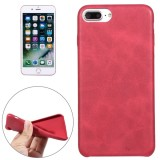 For iPhone 7 Plus Crazy Horse Texture Leather Surface Soft TPU Protective Back Case (Red)