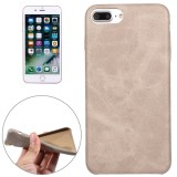 For iPhone 7 Plus Crazy Horse Texture Leather Surface Soft TPU Protective Back Case (Grey)