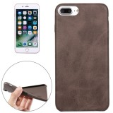 For iPhone 7 Plus Crazy Horse Texture Leather Surface Soft TPU Protective Back Case (Brown)