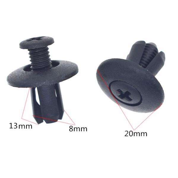 100pcs 8mm Plastic Rivets Fastener Clips Push Pin For Car Auto Fender Bumper