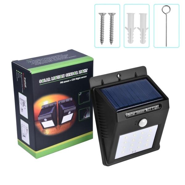 5.5V 0.55W 16 LED SMD 2835 White Light Life Waterproof Solar Motion Sensor Wall Light with Solar Panel & PIR Sensor & CDS Night Sensor