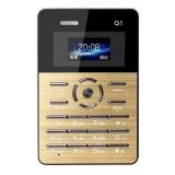 AEKU Qmart Q1 Card Mobile Phone, Network: 2G, Low Radiation Healthier, 4.0mm Ultra Thin Pocket Mini Slim Card Phone, 1.0 inch, GPRS, BT, FM, Alarm (Gold)