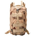 INDEPMAN DL-B002A Fashion Camouflage Style Men Oxford Cloth Backpack Shoulders Bag 25L Outdoors Hiking Camping Travelling Bag 3P Tactical Package with Expanded MOLLE & IND Shoulder Pad & Adjustable Shoulder Strap, Size: 43 x 26 x 23 cm (Desert Camouflage)