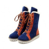 Large Size Nubuck leather Multi-Way Lace Up Round Toe Ankle Boots