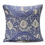 45x45cm Vintage Oriental Blue Floral Cotton Linen Pillow Case Cushion Cover Home Decor