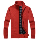 Mens Thick Casual Zippered Knit Sweater Stand Collar Solid Color Cardigan Sweater