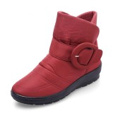 US Size 5-11 Winter Women Waterproof Cotton Snow Boots Down Cloth Keep Warm Flats