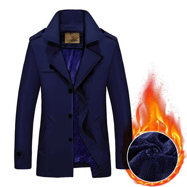 Winter Thick Velvet Turn-down Trench Coat Casual Fashion Mens Single-breasted Overcoat Windbreaker