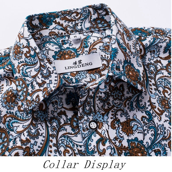 Fashion Mens Floral Printing Turndown Collar Shirts Slim Fit Casual Long Sleeve Shirts