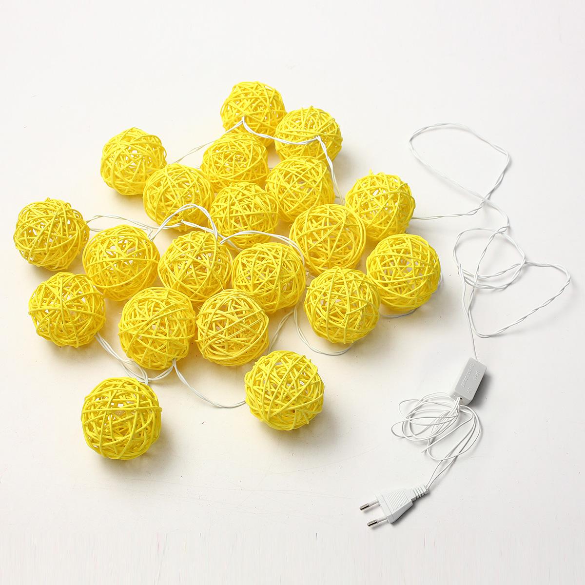 20 LED Rattan Ball String Light Home Garden Fairy Colorful Lamp Wedding Party Xmas Decor