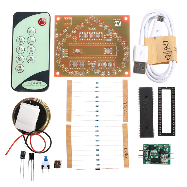 DC 5V DIY Colorful MP3 Music Heart-shaped RGB LED Flash Kit