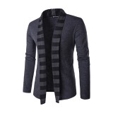 Fashion Cardigan Sweater Mens Trends Knitwear Casual Stripes Color Cardigan