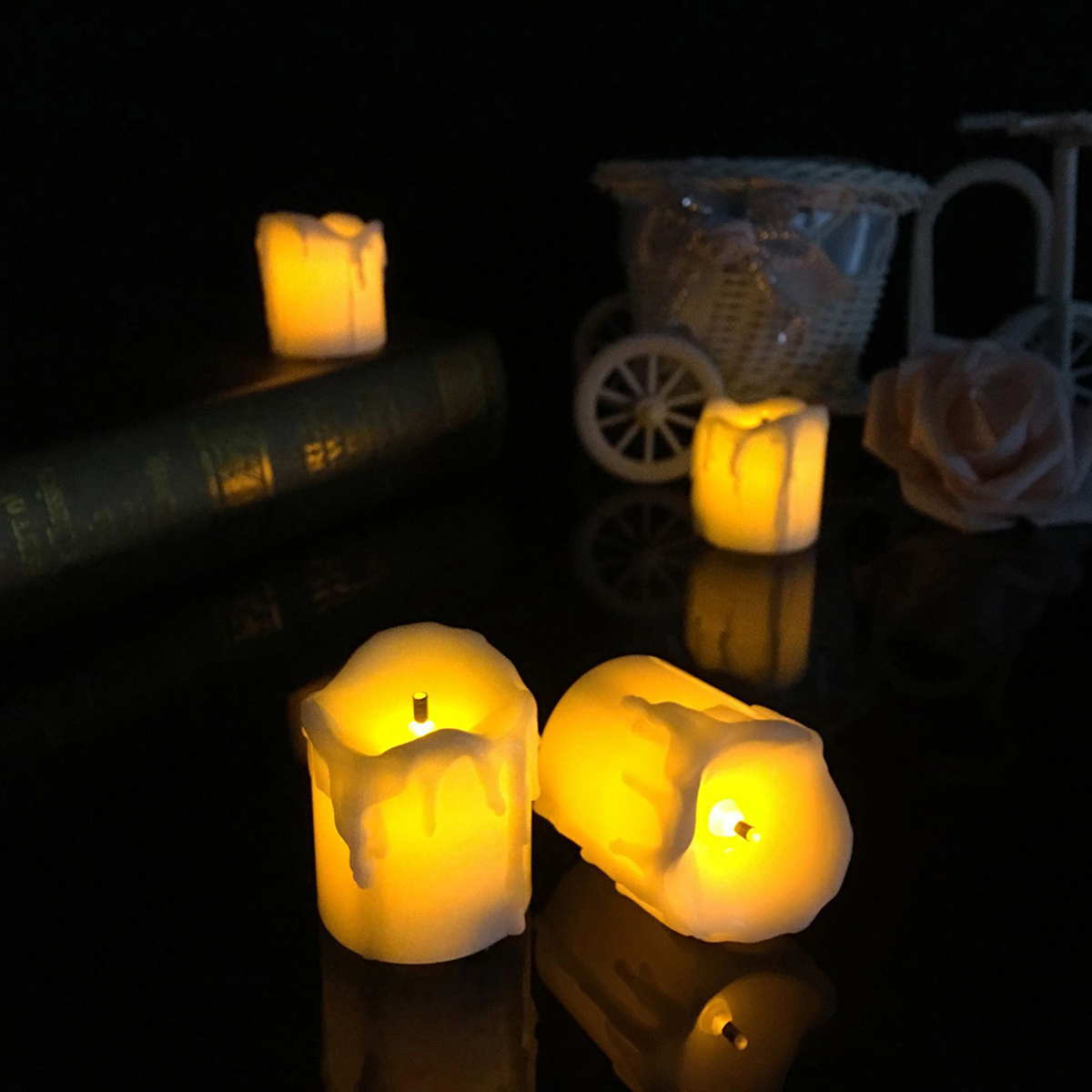 4 3 battery powered flameless led candle tea night light halloween christmas decoration for 7 candle christmas decoration