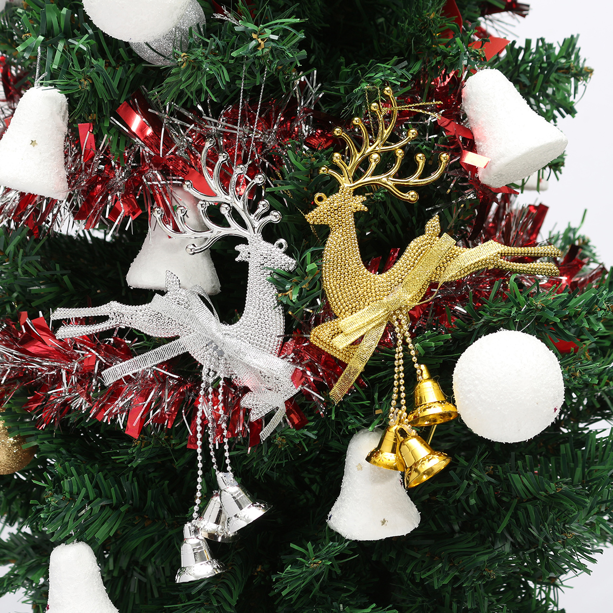 Christmas tree reindeer elk deer bell ornament pendant for Art for decoration and ornamentation