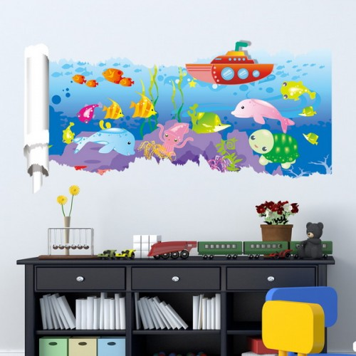 23x47 inches pag 3d wall sticker broken paper series ii for 3d room decoration games