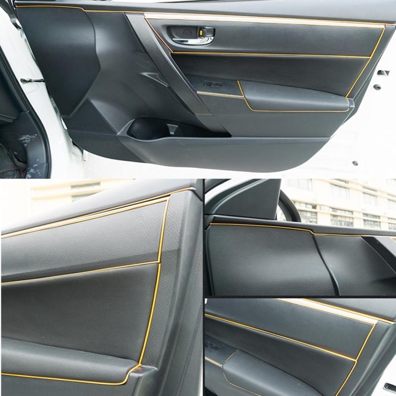 8m flexible trim for diy automobile car interior moulding trim decorative line strip yellow. Black Bedroom Furniture Sets. Home Design Ideas