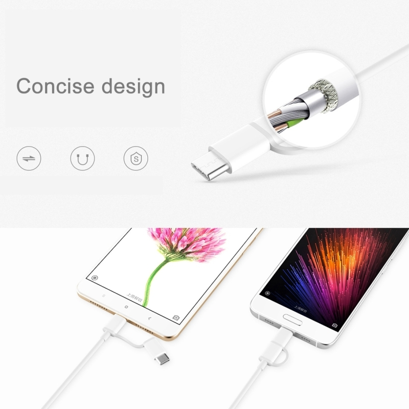 Original Xiaomi 2 in 1 Cable 30cm 2.4A Type-C & Micro USB to USB 2.0 TPE Data Sync Charging Cable for Samsung, New MacBook Air 12 inch, Huawei P9 & P9 Plus, HTC One M10, Xiaomi Mi Notebook Air 13.3 inch / 12.5 inch & Tablet 2 & 5S & 5S Plus & 5, Meizu PRO 6 & PRO 5, Letv Coolpad Cool1 dual, Nokia, Google, OnePlus