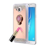 For Samsung Galaxy J7 / J700 Diamond Encrusted Electroplating Mirror Protective Cover Case with Hidden Ring Holder (Rose Gold)