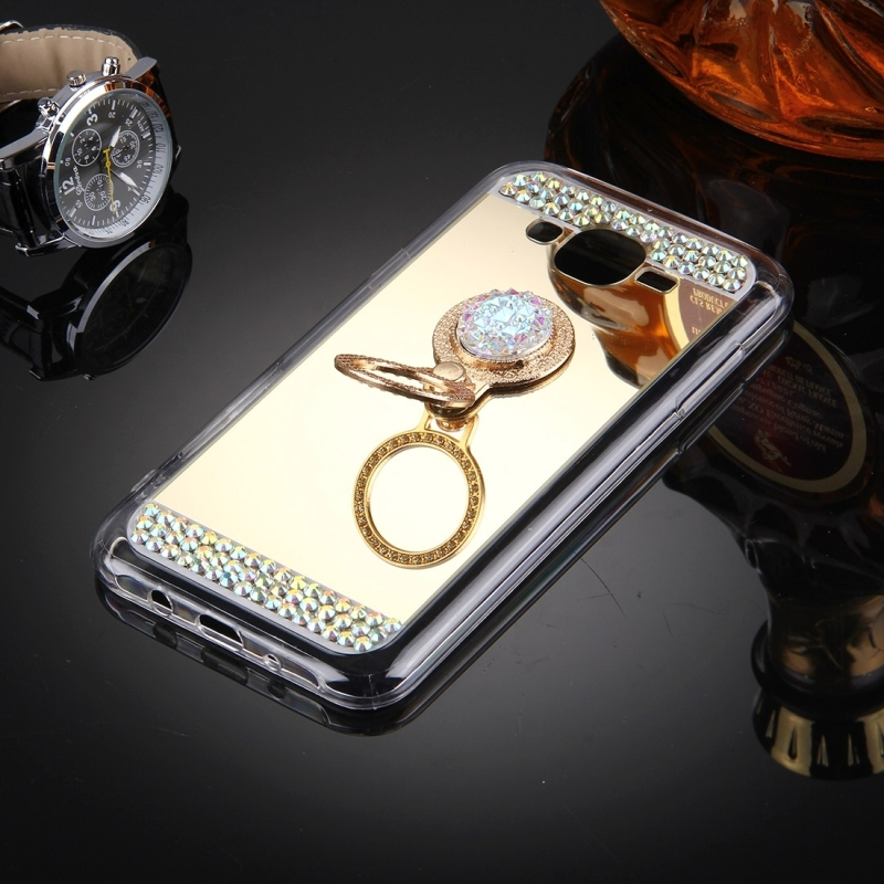 For Samsung Galaxy J7 / J700 Diamond Encrusted Electroplating Mirror Protective Cover Case with Hidden Ring Holder (Gold)