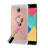 For Samsung Galaxy A5 (2016) / A510 Diamond Encrusted Electroplating Mirror Protective Cover Case with Hidden Ring Holder (Rose Gold)