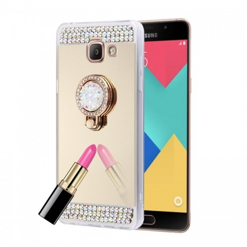 For Samsung Galaxy A5 (2016) / A510 Diamond Encrusted Electroplating Mirror Protective Cover Case with Hidden Ring Holder (Gold)