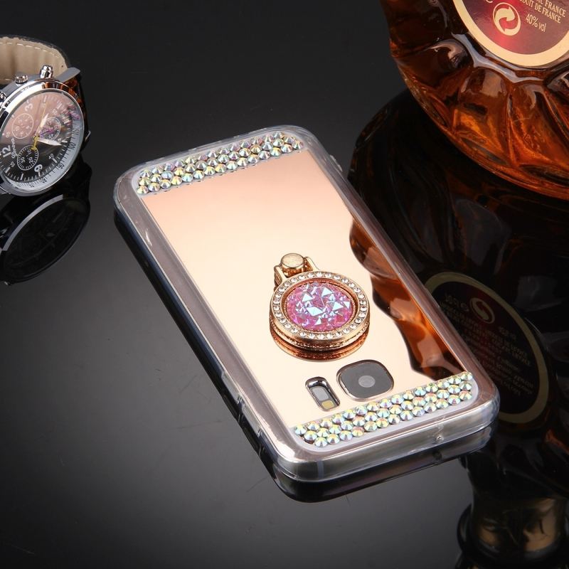 For Samsung Galaxy S7 / G930 Diamond Encrusted Electroplating Mirror Protective Cover Case with Hidden Ring Holder (Rose Gold)
