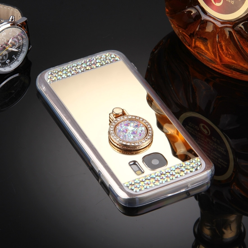 For Samsung Galaxy S7 / G930 Diamond Encrusted Electroplating Mirror Protective Cover Case with Hidden Ring Holder (Gold)