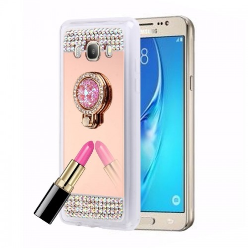 For Samsung Galaxy J5 (2016) / J510 Diamond Encrusted Electroplating Mirror Protective Cover Case with Hidden Ring Holder (Rose Gold)