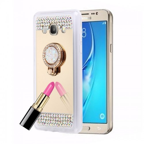 For Samsung Galaxy J5 (2016) / J510 Diamond Encrusted Electroplating Mirror Protective Cover Case with Hidden Ring Holder (Gold)