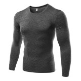 Mens Training Tight Quick-drying Tops Elastic Breathable Sport Long Sleeve T-shirt
