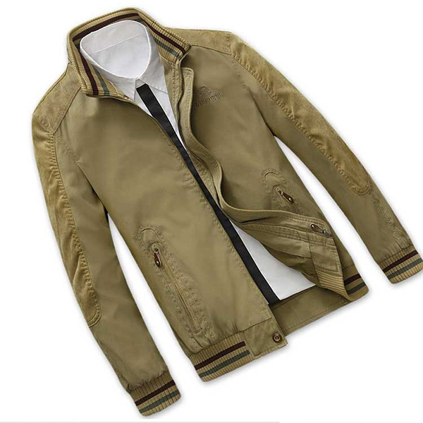 Afs Jeep Autumn Size L-5XL 100% Cotton Stand Collar Business Casual Loose Mens Jacket