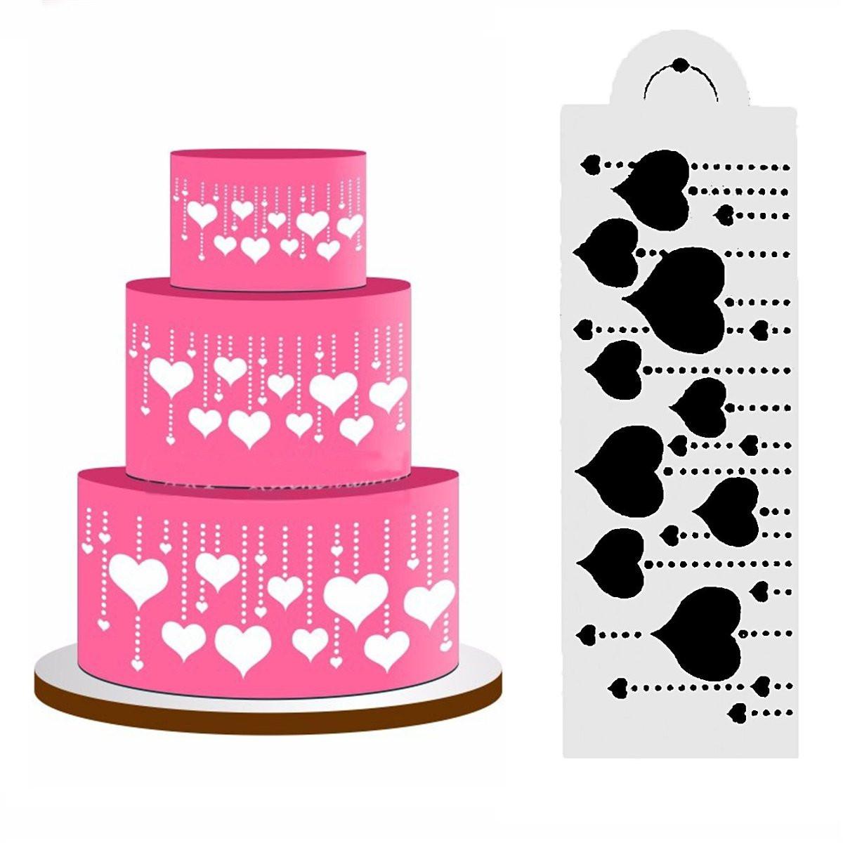 Cake Craft And Decoration Download Free : Heart Side Cake Stencil Fondant Designer Decorating Craft ...