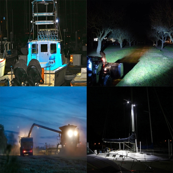 DC 10-30V 27W 2500LM 6000K Waterproof Vehicle Car Boat Marine External Work Lights Emergency Lights 60 Degrees Adjustable Flood Light LED Car Bulbs with 9 Intense Wafer LED Lights (White Light)
