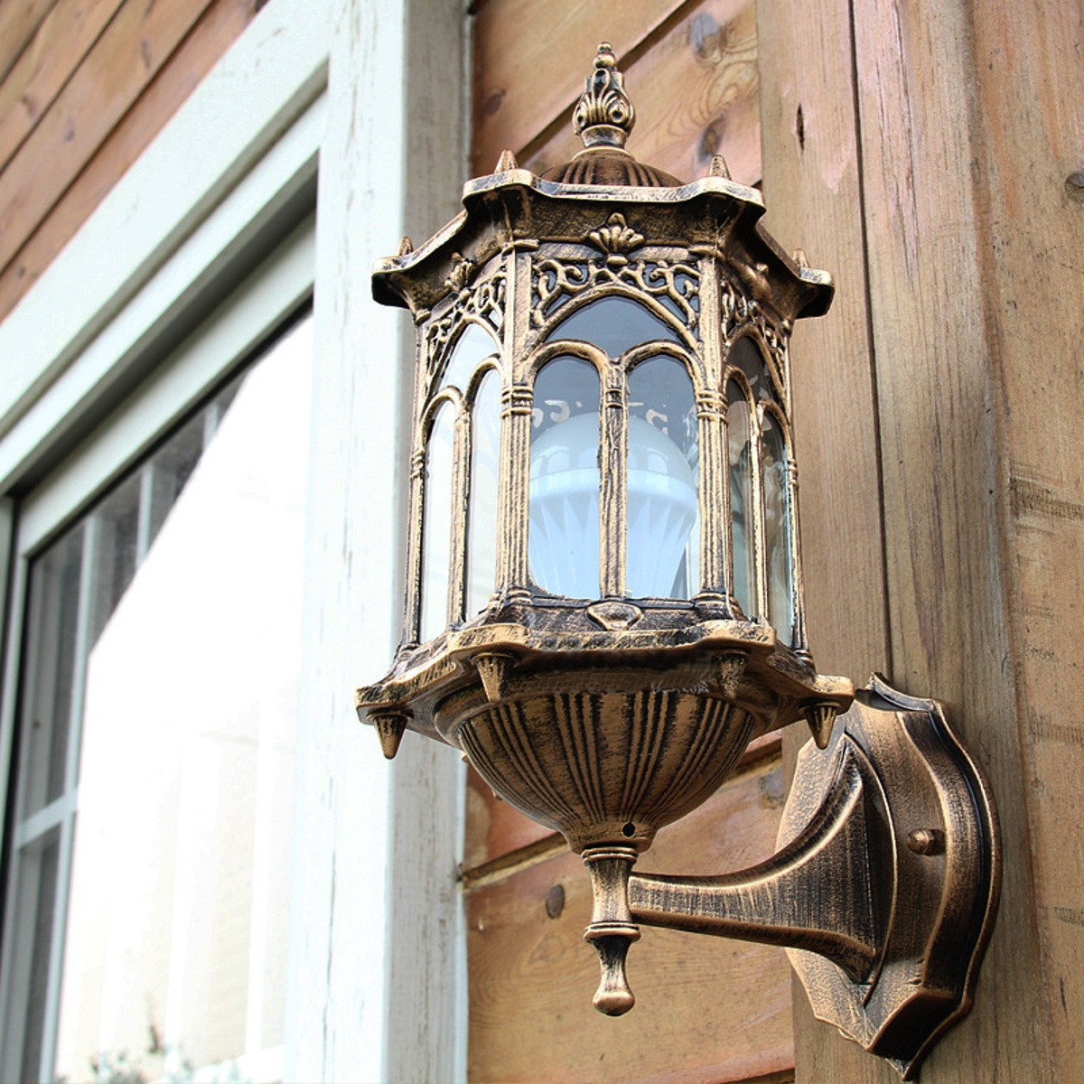 Porch Light Without Electricity: Outdoor Bronze Antique Exterior Wall Light Fixture