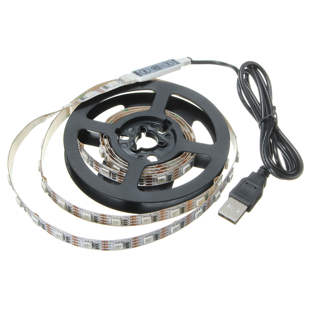 USB DC5V SMD5050 RGB LED White Tape TV Background Strip Light with Remote Controller Non-waterproof