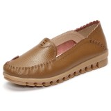 Soft Rubber Sole Round Toe Pure Color Slip On Flat Loafers
