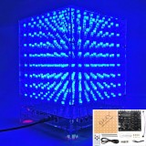 3D Light Cube Kit 8x8x8 Blue LED MP3 Music Spectrum DIY Electronic Kit
