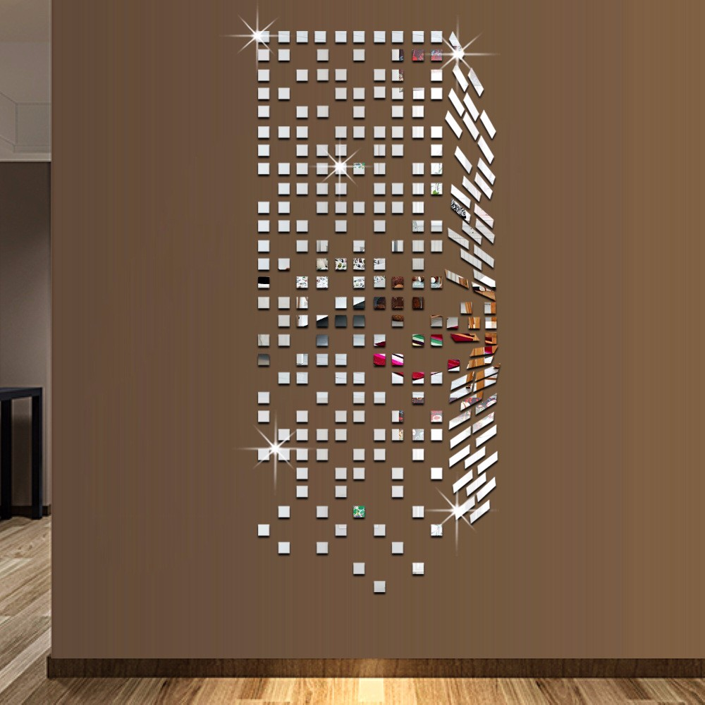 Mirror Mosaic Background Wall Stickers Home Decor DIY Creative - Wall decals mirror