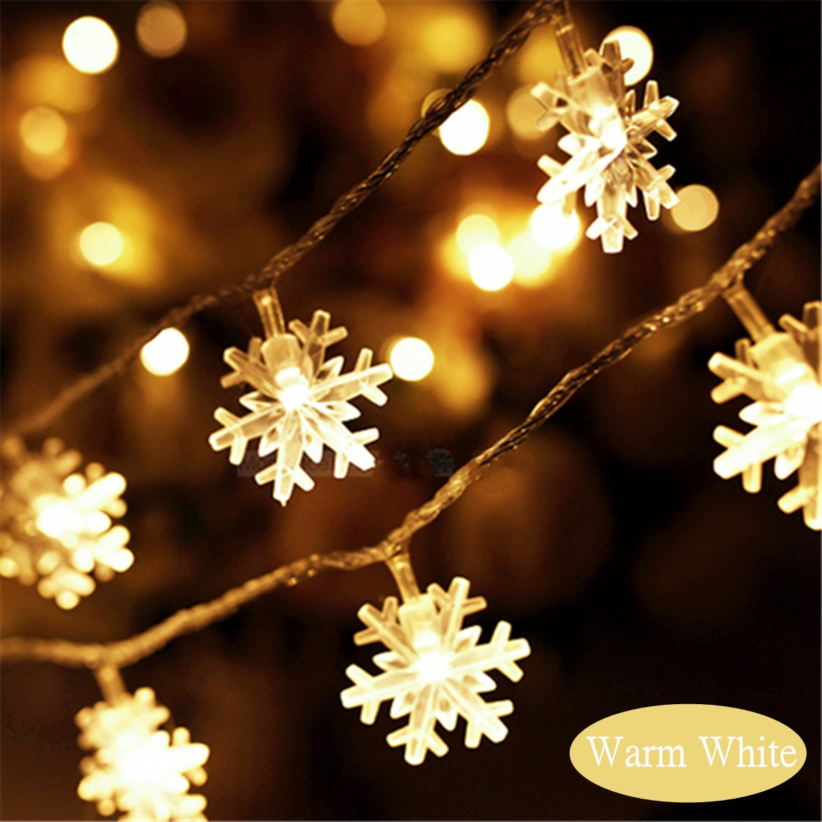 2.5M/5M LED Snowflakes String Christmas Light Xmas Tree Ornament Garland Hanging Decor Alex NLD