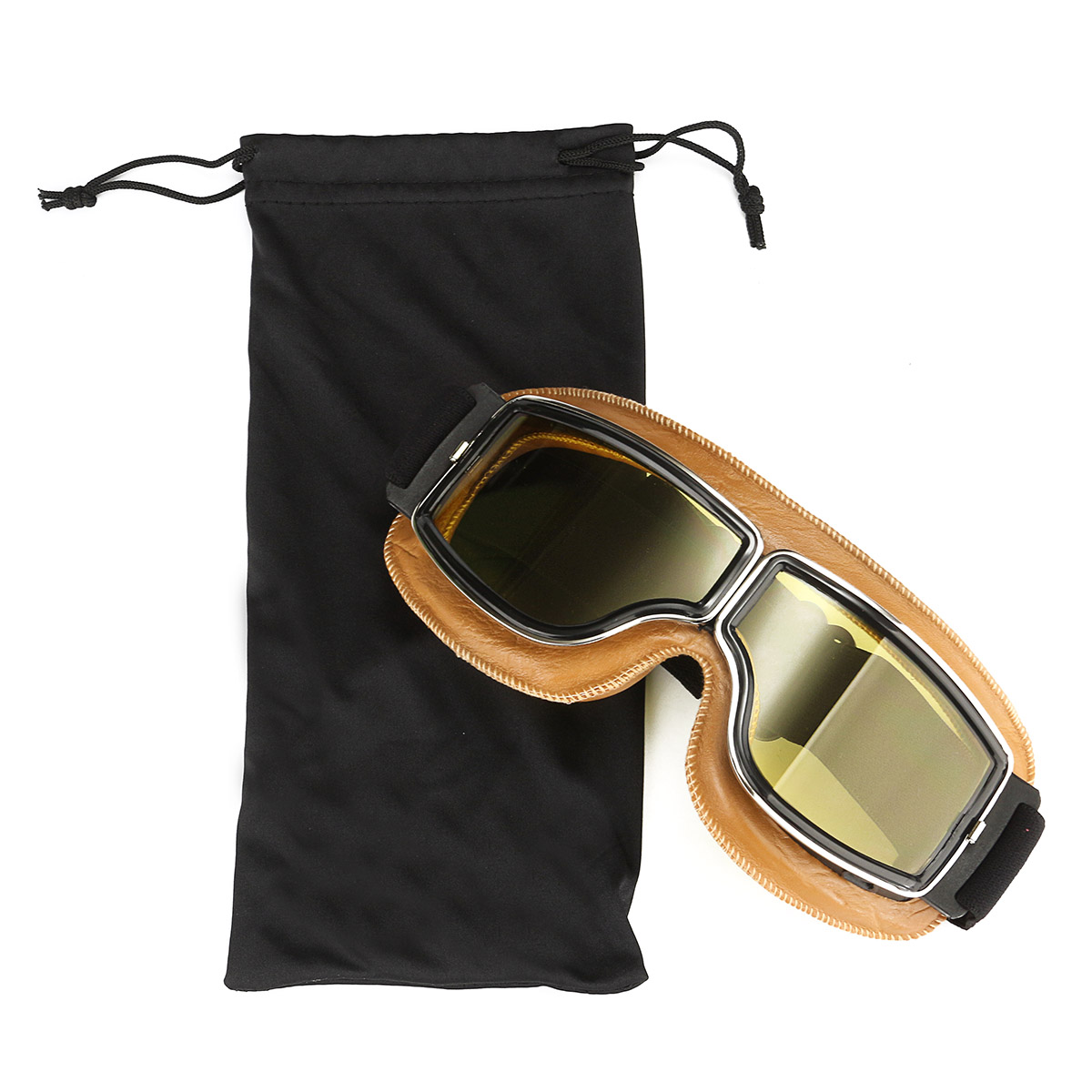 Motorcycle Flying Scooter ATV Goggles Helmet Glasses Goggles Yellow Frame