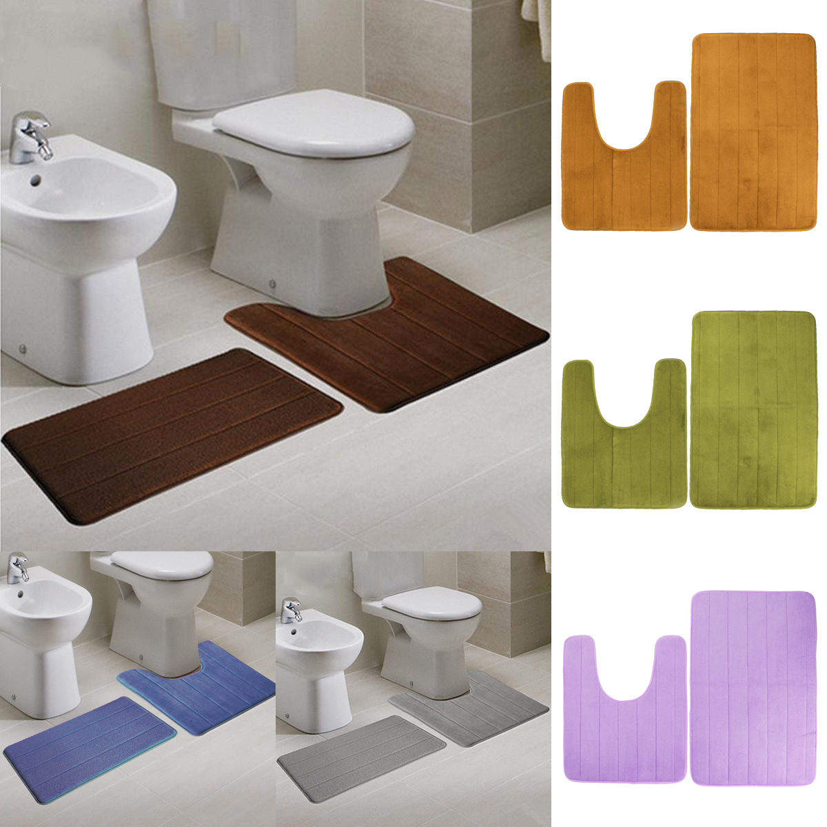 2pcs Super Absorbent Memory Foam Coral Velvet Toilet Mat
